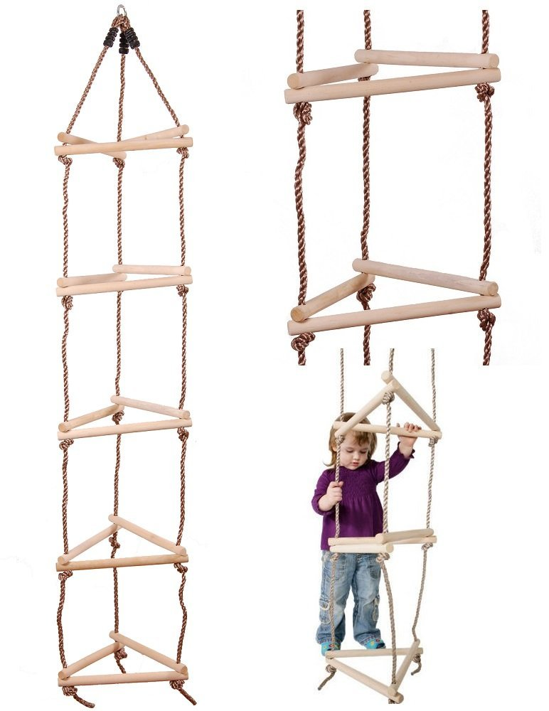 Climbing Wooden Triangular Rope Ladder 15 Rung 3 Sided