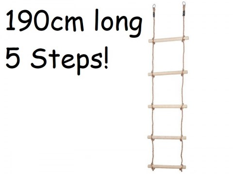 Climbing Rope Ladder for Kids Swing Set Accessories Climbing Net Ladder with 5 Wooden steps sturdy rungs