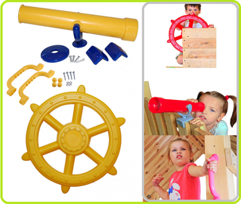 set 3in1 pirate steering wheel+telescope+handgrips yellow2