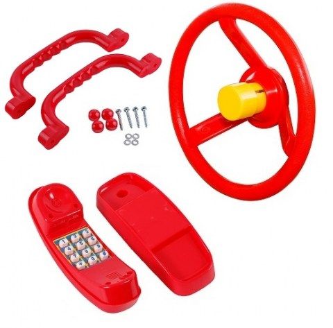 set of 3 accessories for climbing frame bundle price deal steering wheel horn handles handgrips phone plastic